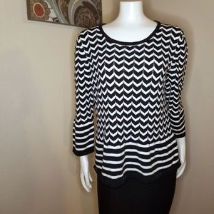 Cable & Gauge Chevron Striped Sweater